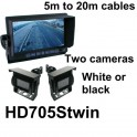High resolution 7 inch colour rear view monitor and two standard CCD reversing cameras