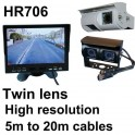 7 inch high resolution colour rear view monitor and twin lens CCD reversing camera